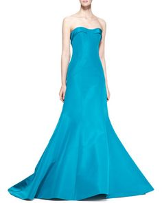 Strapless Evening Gown, Turquoise by Carolina Herrera at Neiman Marcus.