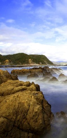 Surging waters are slowed down in this shot of the South Coast near Owhiro Bay, NZ