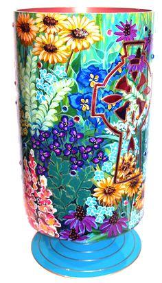 Love this Hand Painted Vase by Adrian Villanueva #Sunflower #Vase  #AdrianVillanueva