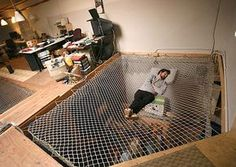 Mesh Hammock Bed that floats right above your kitchen or your closet