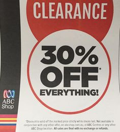 Not my usual half price finds but worth mentioning that 30% off everything at @abcshop #onsale until 30/3/16 #mar16 #closingsale #clearance #abctv #channel2