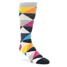 22337-Black-Multi-Color-Argyle-Mens-Dress-Socks-Socks-Ballonet01
