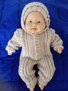 Baby Aran Snowsuit with attached Hood in by Meganknits4charity