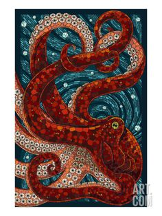 Octopus - Paper Mosaic Art by Lantern Press Stained Glass Art, Mosaic Glass, L'art Du Vitrail, Paper Mosaic, Wow Art, Kraken, Art Plastique, Oeuvre D'art, Art Projects