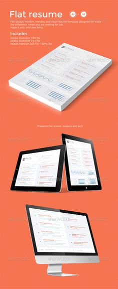 Clean & Flat resume design, modern, trenddy, and clean template diesgned to make the difference when you are seeking for job. Made