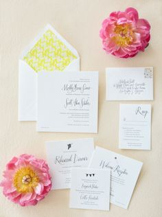 The prettiest yellow and pink wedding stationery set Photography by Gia Canali / giacanali.com, Event Design and Production by Yifat Oren #papergoods #weddinginvitations #yellow