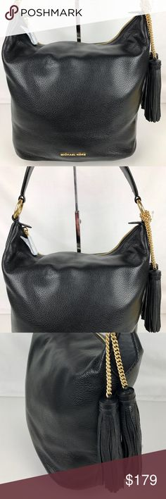 """Michael Kors Elana Large Leather Shoulder Bag Condition: New, with Tags and Dust Bag. Includes optional crossbody strap.  This is a stunning bag! I have a brown version that everyone comments on when I use it. Michael Kors shoulder bag in black pebbled Leather Flat shoulder strap with rings; 13"""" drop. Top zip closure. Hanging tassel detail. Exterior back slip pocket. 12""""H x 15""""W x 5""""D. Style 30T6GE3L3L. RB370  Thank you for your interest!  PLEASE - NO TRADES / NO LOW BALL OFFERS / NO OFFERS…"""