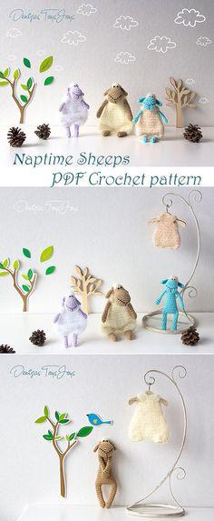 NapTime Sheeps  pdf crochet pattern. Kawaii Amigurumi toys in