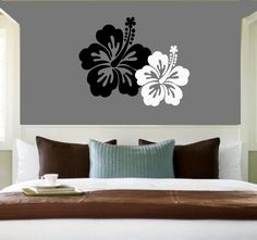 Hawaiian Tropical  Hibiscus Flowers - Vinyl wall art decals stickers by 3rdaveshore