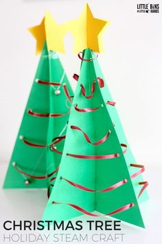 3D Christmas Tree STEAM activity for a fun Christmas decoration craft and math lesson in one! Learn about triangles and explore engineering while you make a three dimensional Christmas tree decoration for your table. A great family Christmas project to do together and it's perfect for a classroom Christmas STEM project. Explore engineering, art, and math while you make a 3D Christmas tree!