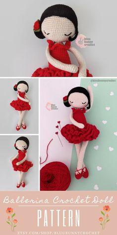 Amigurumi Doll Pattern, Ballerina Crochet Doll with Rose and Flowers Pattern, Carmen Bailarna Patron Carmen from the series of Mini Ballerina Doll, Amigurumi Ballerina Doll Pattern. This is a DOWNLOADABLE TUTORIAL. Written in English, using Us terminology.