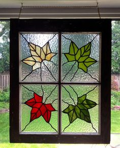 """Seidlitz Family Blog: Stained Glass- my favourite piece that includes 4 different colours of maple leaves. I mounted it in an antique window frame. I call it. """"four seasons"""". Very Canadian."""