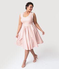 e5d63ede76 Barbie x Unique Vintage Plus Size Rose   White Gingham Barbie-Q Swing Dress