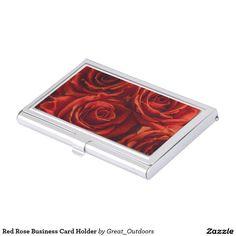 Red Rose Business Card Holder