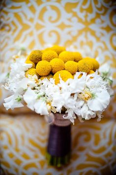 Beautiful crespedia and sweet pea bouquet. White Wedding Bouquets, Cute Wedding Dress, Yellow Wedding, Fall Wedding Dresses, Flower Bouquet Wedding, Wedding Events, Wedding Reception, Our Wedding, Dream Wedding