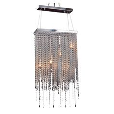 4-Light chandelier with a rectangular frame and hanging crystal strands.  Aquitaine & Co. as featured on Joss & Main