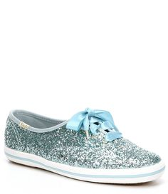 Keds x kate spade new york Glitter Dipped Satin Lace Sneakers - Dusty Blue