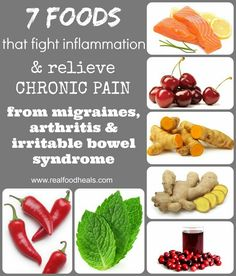 7 Foods that fight inflammation & relieve chronic pain. From migraines, arthritis, & irritable bowel syndrome.