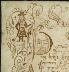 smcdwer:  Cartoons and doodles in a 17th century manuscript (AM 563 b 4to). These images really speak for themselves: playful marginal doodles of the anonymous Icelandic scribes who copied out the sagas of Icelanders found in this paper manuscript from c. 1650–99. In the first photo (and detail in photo 2), we see an elaborate full-page opening of Þorsteins þáttur uxafóts (The Tale of Thorsteinn Ox-foot), complete with beautiful pen flourishes, human figures –– the full figure in the corner…