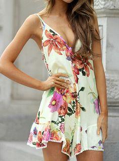Vestido floral sin espalda con tirante-blanco 14.72