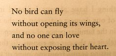 No bird can fly without opening its wings, and no one can love without exposing their hearts.  -mark nepo