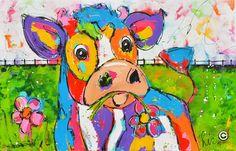 Dit is een: Acrylverf op doek, titel: 'Lente' kunstwerk vervaardigd door: Liz