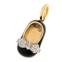 18K all black shoe with diamond bow .11 cts