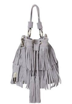 SAC À FRANCES EN CUIR (20 cm) - Handtasche - light grey