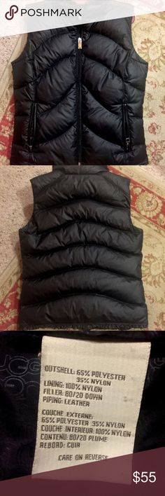 Ugg Vest This puffer down vest by Ugg is super cute with its scalloped trim along the bottom and top! It is in excellent condition, I bought it on here and it's too small for my triple DDD's :( so sad about it! UGG Jackets & Coats Vests