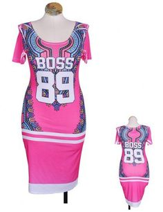 PLUS+SIZE+'BOSS+89'+PRINTED+BODYCON+DRESS FABRIC+CONTENT+95%POLYESTER/5%SPANDEX
