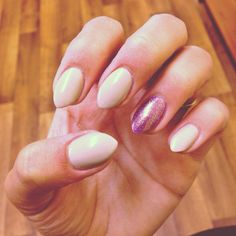 Pointed almond nails, purple and nude,
