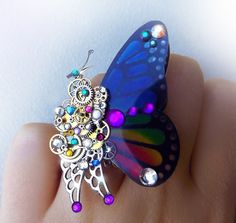 'Allure' Rainbow Steampunk butterfly ring by CindersJewelryDesign