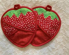 Excited to share this item from my shop: Strawberry Potholders, Strawberry Oven Mitts, Red Strawberry Hot Pads Crochet Bear, Crochet Birds, Crochet Food, Crochet Animals, Crochet Granny Square Afghan, Granny Squares, Sewing Crafts, Sewing Projects, Strawberry Decorations