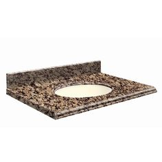 "Transolid 25"" Single Bathroom Vanity Top Bowl Configuration: Biscuit, Faucet Mount: 8"" Offset, Top Finish: Giallo Ornamental"