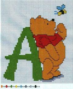 ENCANTOS EM PONTO CRUZ: Monograma do Ursinho Pooh
