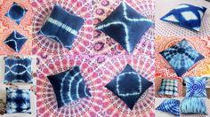 Lot 5 Pcs Indigo Blue Tie dye Shibori Print Hand Block Printed Cotton Cushion Cover by ArtofPinkcity on Etsy Printed Cushions, Throw Cushions, Shibori, Pillowcases & Shams, Blue Tie Dye, Cotton Pillow, Decoration, Printed Cotton, Indigo Blue