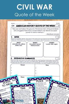 Need a Civil War project for kids? US History quote of the week is a FUN way to integrate reading strategies and Civil War history.  Each week, students think deeply about the history quote by completing 5 literacy activities. There are 4 weeks worth of lessons in this resource designed for 5th grade and middle school! #5thGrade #MiddleSchool #CivilWar 7th Grade Social Studies, Social Studies Classroom, Social Studies Resources, Teaching Social Studies, Literacy Strategies, Reading Strategies, Literacy Activities, Middle School Us History, Civil War Quotes
