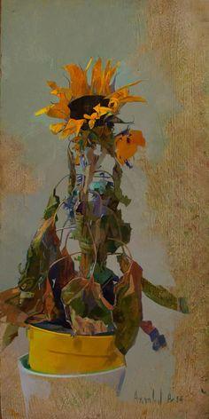 Dead Sunflower 2014  Oil on panel  Amnon David Ar