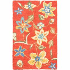 Safavieh Blossom x Rectangle Wool Hand Tufted Floral Area Rug Rust / Multi Home Decor Rugs Area Rugs Wool Area Rugs, Wool Rug, Clearance Rugs, Floral Area Rugs, Rug Hooking, Throw Rugs, Colorful Rugs, Rug Size, Size 2
