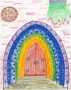abstract-art-print-rainbow-castle-glicee
