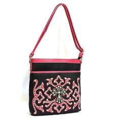 866ff5f6cb76 Handbag Western CrossBody Messenger Bag Pink Tribal Rhinestone Black Cowgirl