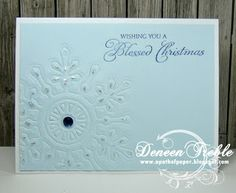 Quick and easy Christmas cards, clean and simple, Spellbinders embossed snowflake.