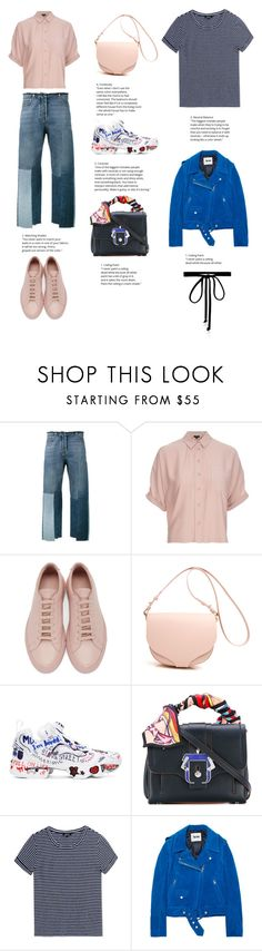 """""""Valentino Patchwork Jeans"""" by totalteenagenobody ❤ liked on Polyvore featuring Valentino, Topshop, Common Projects, Reebok, Paula Cademartori, A.P.C., Acne Studios and Joomi Lim"""