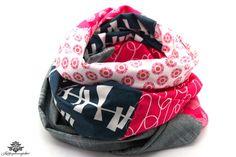 Loop-Tuch in pink-grau-weiss - entworfen und gefertigt in der #lieblingsmanufaktur