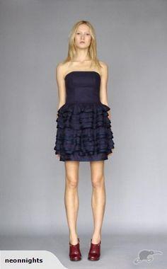 Karen Walker Navy Ruffle Dress