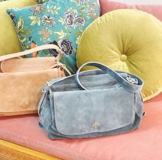 POWDER & MINT ... TWO SIDED MESSENGER BAG... MANU ATELIER HANDCRAFTED LEATHER GOODS, HANDBAGS