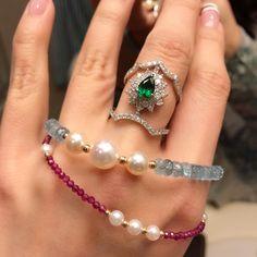 Multicolor gemstones and pearl bracelets