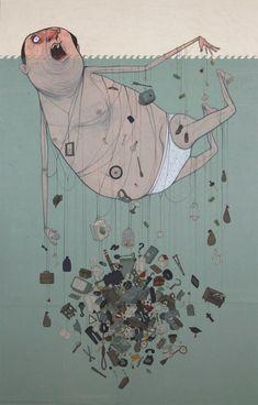 Nemo street art All the things in life that are pulling you down/underwater… Graffiti Art, Art And Illustration, Art Inspo, Satirical Illustrations, Creepy Pictures, Social Art, Street Artists, Art Design, Urban Art