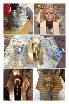 How to make a King Tut mask. Lots of paper mâché, foam board, mask from the craft store and gold, blue and black paint.