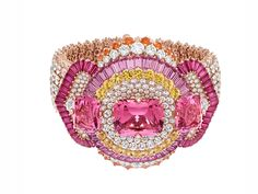 COEURS ENLACÉS BRACELET -  Pink gold, diamonds, pink and yellow sapphires, rubies, spessartite garnets, 3 cushion-cut pink spinels for a total of 31.17 carats
